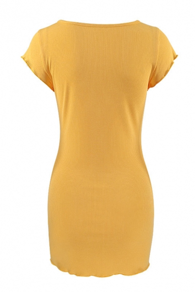 Womens Summer Casual Plain Cap-Sleeve Button Placket Mini Bodycon Dress