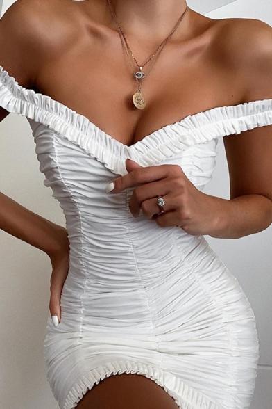 Womens Trendy Plaine Blanc Hors De L'Épaule Mini Volants Gaine Robe De Cocktail