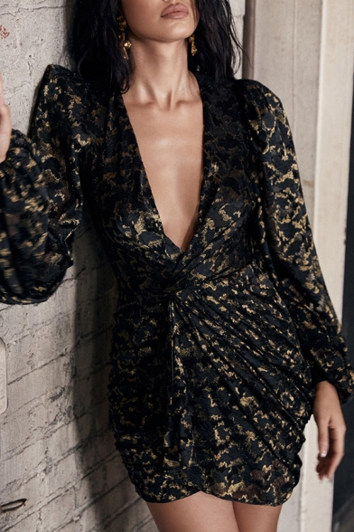 Womens Unique V-Neck Lantern Long Sleeve Zip Back Black and Gold Mini Party Dress
