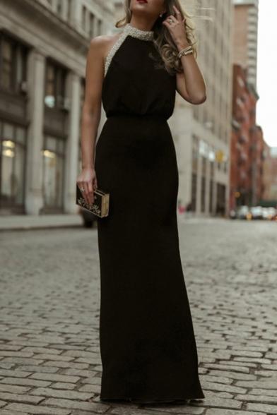 Black Formal Classy Sleeveless Halter Sequined Trim Maxi Evening Column Dress for Ladies