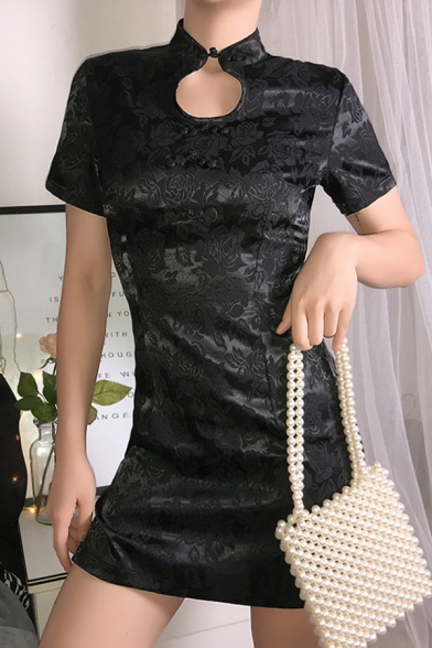 Chinese Style Floral Print Frog Button Stand Collar Hollow Out Short Sleeve Split Side Black Mini Cheongsam Dress