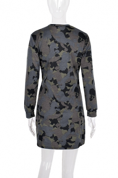 Cool Street Casual Long Sleeve Crew Neck Camo Print Tied Front Fitted Short Sweatshirt Dress for Women