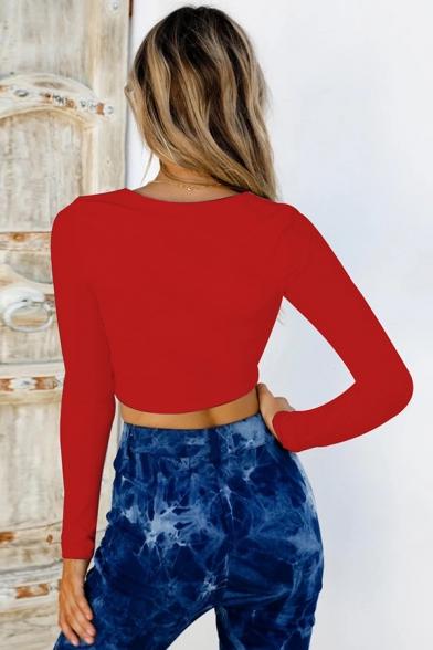 Elegant Basic Long Sleeve Deep V-Neck Bow-Tie Front Ruched Slim Plain Crop T Shirt for Girls