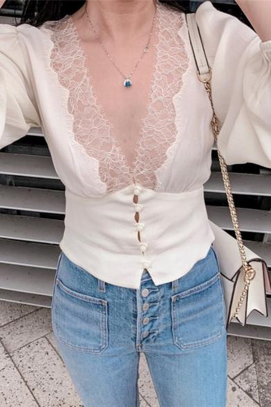 Elegant Women's Blouson Sleeve Deep V-Neck Button Down Lace Trim Slim Fit White Crop Blouse