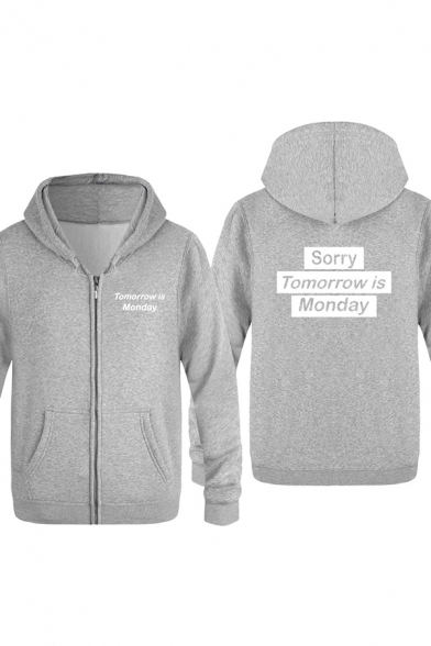 Fancy Letter SORRY TOMORROW IS MONDAY Printed Long Sleeve Casual Outdoor Hoodie