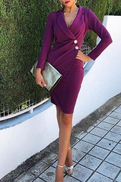 Female Elegant Purple Long Sleeve Surplice Neck Button Short Tight Wrap Blazer Dress