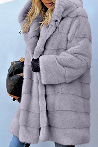 Ladies Warm Long Sleeve Open Front Plain Longline Faux Fur Coat with Hood