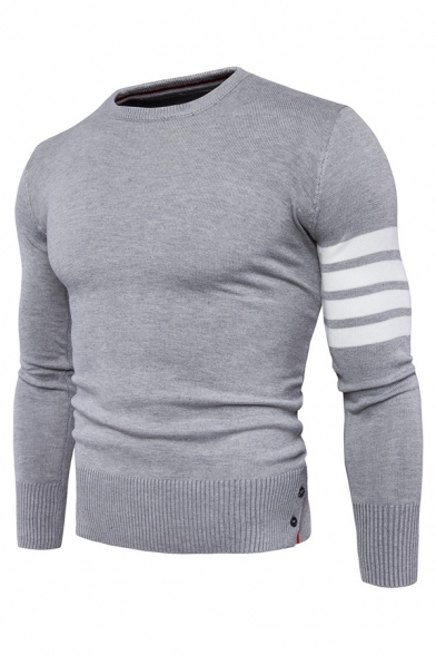 Mens Casual White Stripes Printed Single Sleeve Button Cuffs Boucle Knit Pullover Sweater