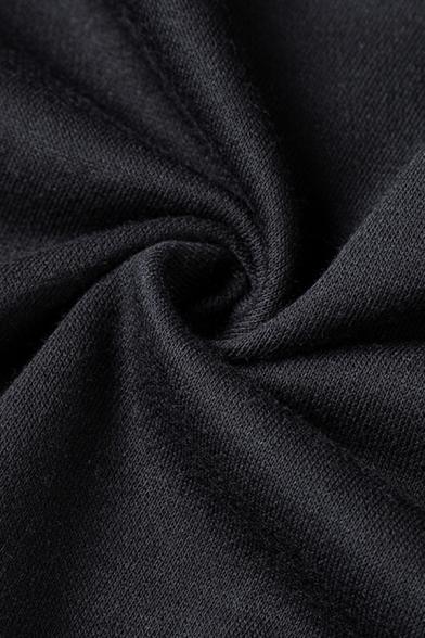 Mens Exclusive Drawstring Waist Long Sleeve Zipper Cuff Plain Black Loose Hoodie