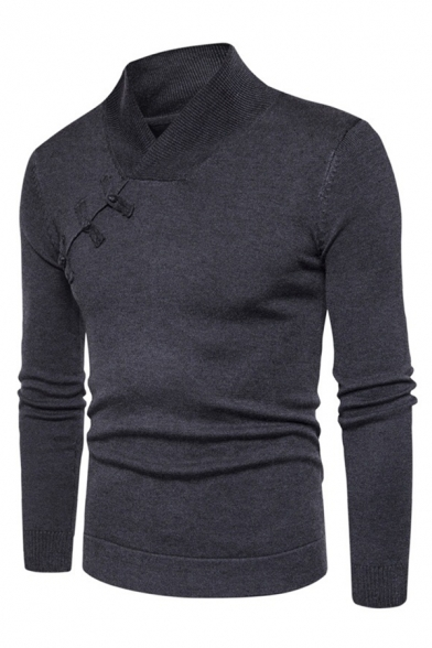 Mens New Trendy Oblique Frog Button Decoration Long Sleeve Plain Dark Gray Fitted Sweater