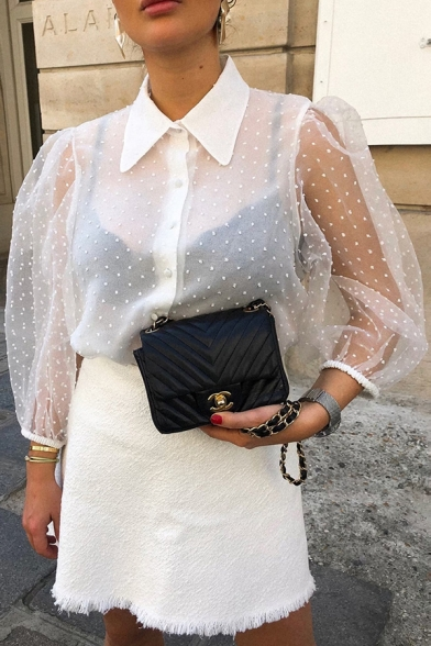 New Fashion Plain Polka Dot Printed Lantern Half Sleeve Lapel Button Down Sheer Tulle Shirt