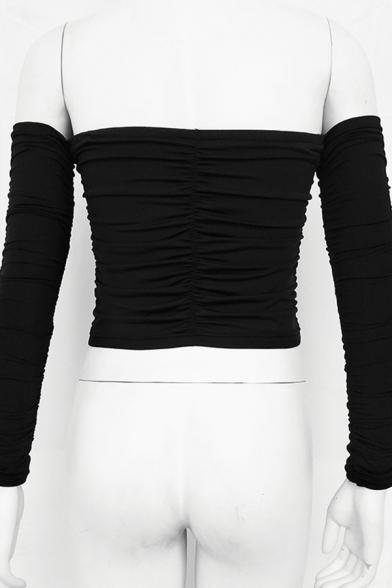 Plain Elegant Long Sleeve Off The Shoulder Bow-Tie Ruched Drawstring Slim Fit Crop Tee for Ladies