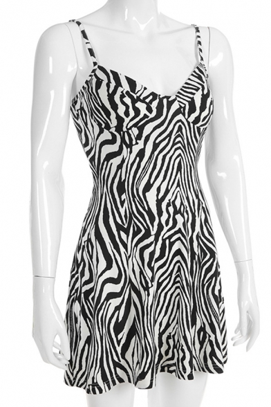 Womens Casual Party Clothing Black and White Zebra Print Mini A-Line Strap Dress