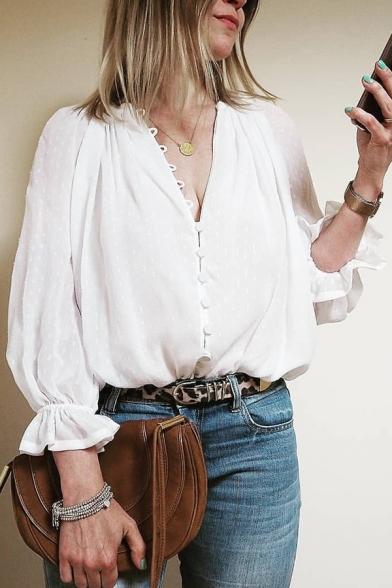Womens Elegant V-Neck Button Down Trumpet Sleeve Plain White Gauze Blouse