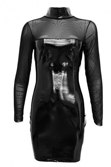 Womens Sexy Plain Black Sheer Mesh Panel Long Sleeve High Collar PU Leather Mini Tight Dress