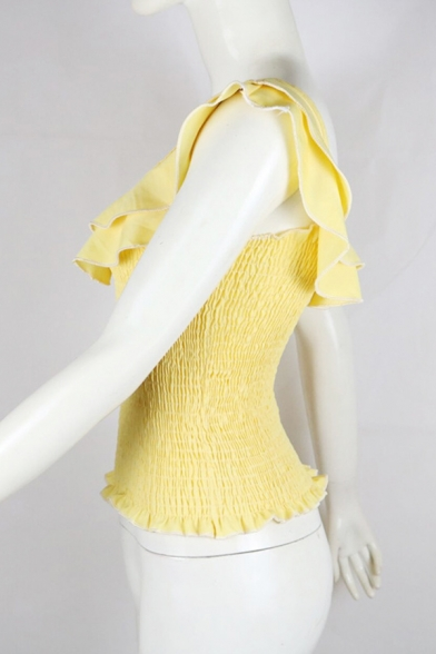 Womens Sweet Style Plain Yellow Square Neck Tiered Ruffles Sleeve Ruched Fitted Top
