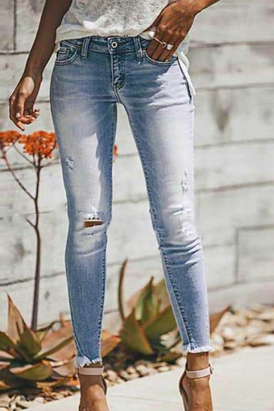 Baycheer / Girls' Casual Simply Mid Rise Bleach Distressed Fray Cuffs Ankle Length Skinny Jeans in Light Blue