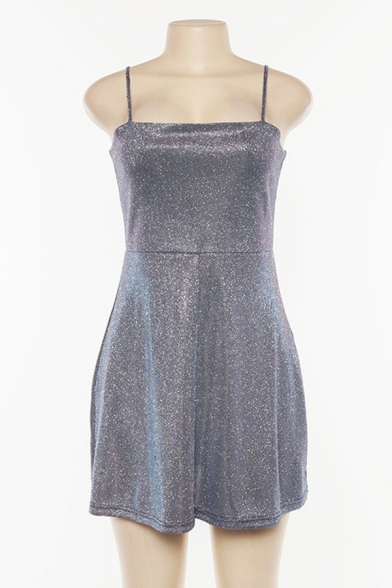 Hot Sale Plain Silver Glitter Fashion Cutout Front Night Club Mini A-Line Slip Dress