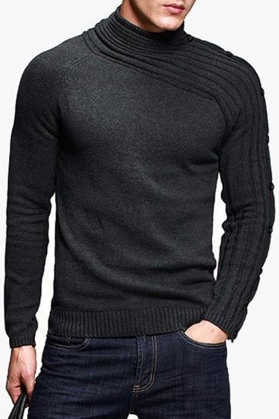 Mens Cool Black High Collar Button Embellished Long Sleeve Ribbed Kitted Pullover Sweater