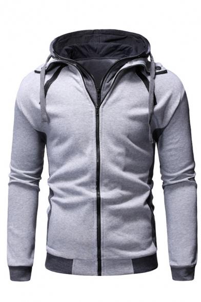 Mens New Trendy Colorblock Drawstring Hood Long Sleeve Double Zip Slim Fit Casual Hoodie
