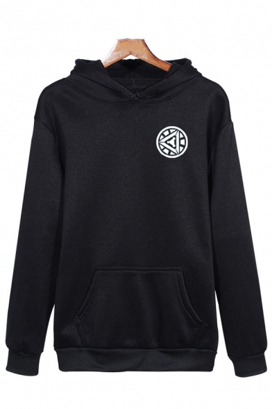 Mens Popular Geometric Pattern Long Sleeve Pouch Pocket Black Pullover Hoodie, LC575563