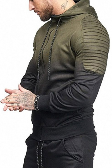Mens Popular Ombre Color Pleated Patchwork Long Sleeve Zip Up Sports Hoodie