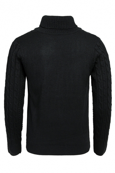 Mens Popular Plain Long Sleeve Turtle Neck Textured Knitted Pullover Warm Sweater