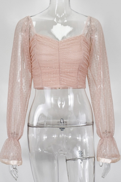 Sexy Fashion Girls' Blouson Sleeve Sweetheart Neck Ruffled Cuff Polka Dot See-Through Mesh Zip Back Ruched Plain Fitted Crop Top