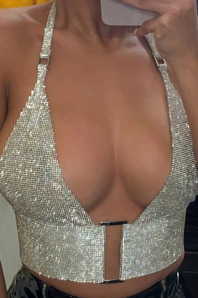 Sexy Party Sequired Sleeveless Halter Buckle Detail Silver Bustier for Girls