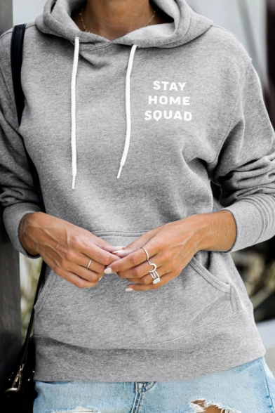 White Letter STAY HOME SQUAD Printed Long Sleeve Kangaroo Pocket Drawstring Sports Hoodie LM570151 фото