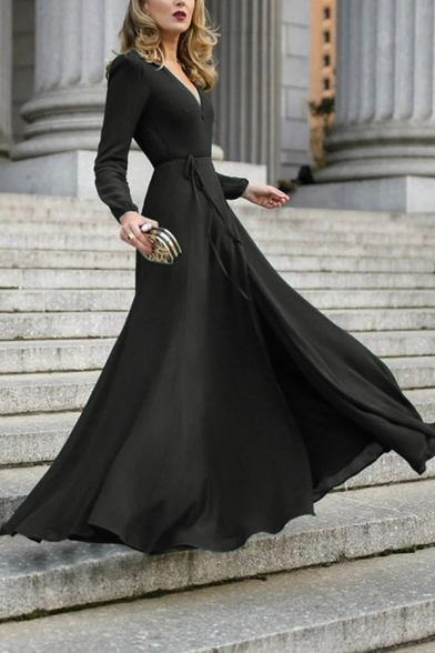 Women's Formal Classy Plain Long Sleeve Surplice Neck Bow Tie Waist Slit Side Pleated Maxi Flowy Dress for Special Occasion