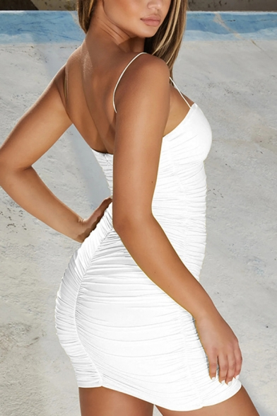 Womens Fashionable Solid Color Ruched Detail Mini Fitted Strap Dress for Party