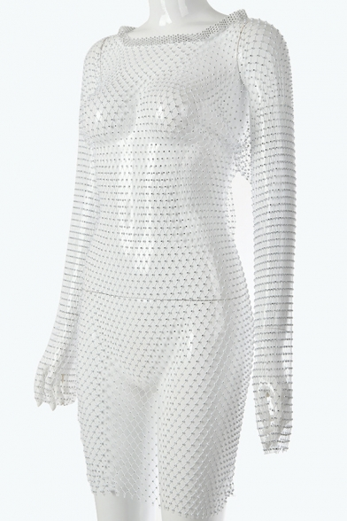 Womens Sexy Hollow Fishnet Style Rhinestone Embellished Long Sleeves Tunic Beach Dress