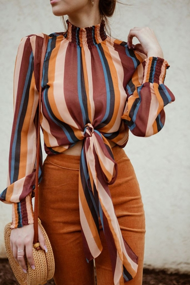 Womens Stylish Colorful Vertical Striped Print Ruched High Collar Long Sleeve Tied Hem Loose Fit Casual Shirt