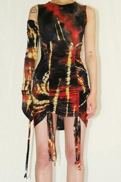 Cool Color Block Pattern Crew Neck Drawstring Ruched Hem Black and Orange Mini Party Dress