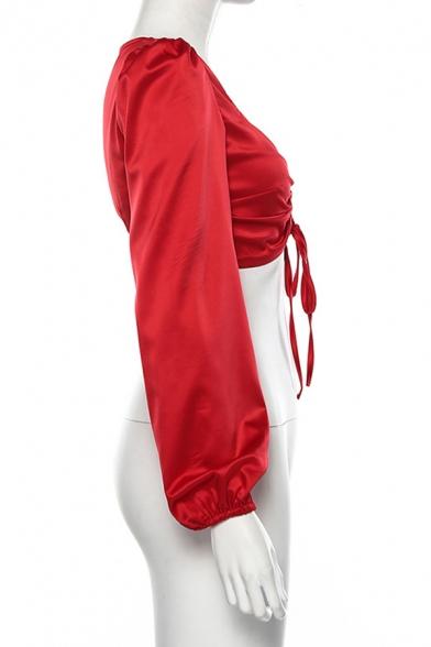 Cute Elegant Ladies' Blouson Sleeve V-Neck Bow Tie Drawstring Slim Fit Red Crop Top for Club