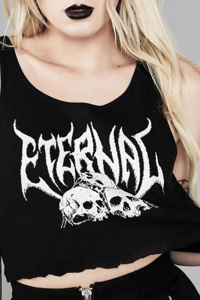 Dark Street Gothic Sleeveless Round Neck Letter ETERNAL Skull Print Stringy Selvedge Flared Black Crop Tank for Female