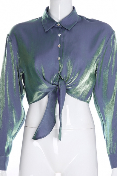Edgy Girls' Long Sleeve Point Collar Button Down Tied Front Satin Plain Crop Shirt
