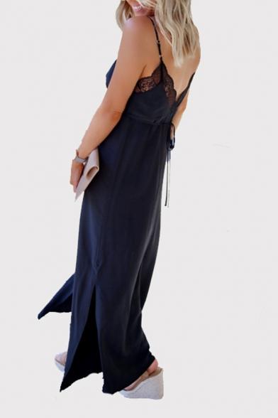 Elegant Ladies Sleeveless Button Down Lace Trim Slit Side Bow Tied Waist Maxi Sheath Cami Dress in Navy Blue