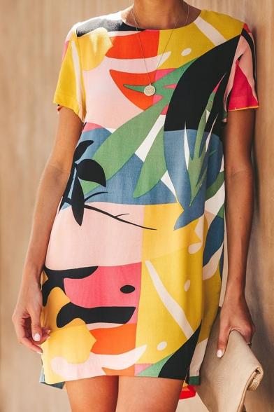 Ladies' Casual Yellow Short Sleeve Crew Neck Zipper Back Mixed Print Loose Fit Cotton Short T-Shirt Dress