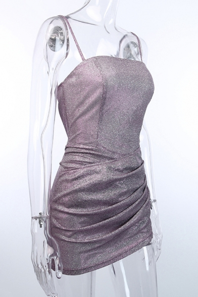 Ladies Hot Popular Glitter Plain Pink Sleeveless Ruched Detail Night Club Mini Strap Dress