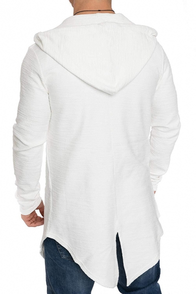 Mens Unique Plain Long Sleeve Zip Up Swallow-Tail Slim Fit Tunic Hoodie
