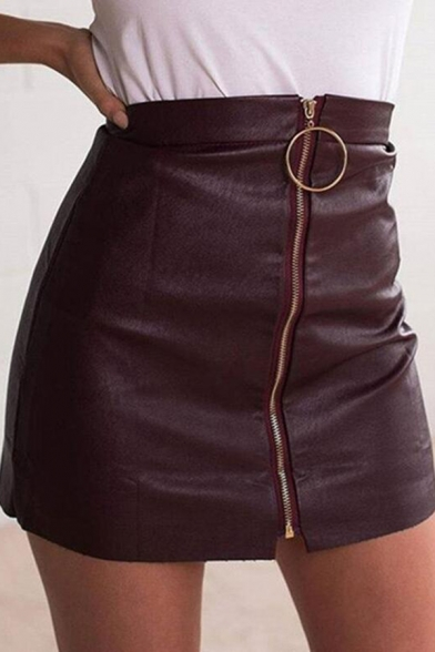Plain Cool Girls' High Waist Zipper Front Leather Micro Bodycon Skirt for Nightclub, Black;brown, LM575269