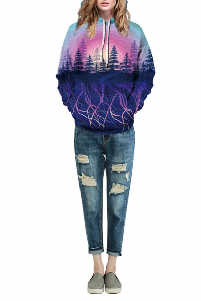 Unisex Leisure Plum Blossom Wash Painting Forest 3D Print Long Sleeve Drawstring Hoodie