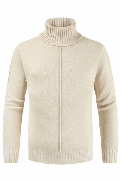 Winter Fashion Turtle Neck Long Sleeve Mens Plain Beige Slim Fit Pullover Sweater