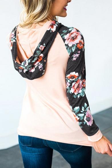 Womens Casual Floral Printed Eyelet Embellished Long Sleeve Slim Fit Drawstring Hoodie