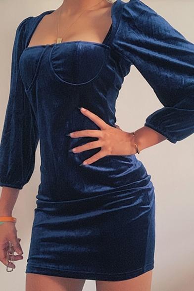 Womens Elegant Square Neck Puff Long Sleeve Plain Mini Velvet Party Dress