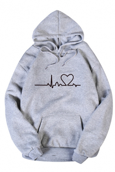 Womens Simple Heartbeats Pattern Long Sleeve Pouch Pocket Loose Drawstring Hoodie
