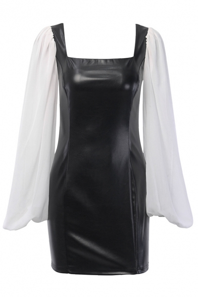 Womens Unique Chiffon Panelled Lantern Long Sleeve Square Neck PU Leather Black Mini Party Dress