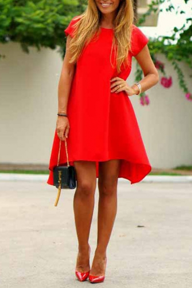 Casual Fancy Ladies' Short Sleeve Round Neck Asymmetric Mid Swing Dress in Red